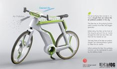 Air-Purifier Bike Filters The Air and Produces Oxygen to Reduce Air Pollution - Lightfog, a Thailand design company has won Red Dot Design award for its concept bike that creates better air quality, Air-Purifier Bike (APB). This bike incorporates an air filter between the handle bars that traps dust and pollutants from the air.   via tuvie.com