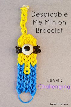 Despicable Me Minion Rainbow Loom Pattern Despicable Me Minion Rainbow Loom Bracelet Despicable Me Minion Rainbow Loom Bracelet . Rainbow Loom Tutorials, Rainbow Loom Patterns, Rainbow Loom Creations, Loom Love, Fun Loom, Loom Bands, Rubber Band Crafts, Rubber Bands, Crazy Loom