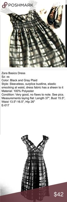 "Trendy ZARA Basics metallic plaid mini dress✨ Classy, pretty & sexy all in one. Traditional pretty plaid  dress w/ a modern, metallic twist EUC Like 🆕 Better lighting on pix w/ mannequin 4 color Semi-sleeveless mini  Elastic smocking under the bust w/ a surplice bust-line illusion of slimming waist enhancing the bust on most body types Recommend strapless push up to add a little more🙂 Size XS Length 37"" laying flat Pit 2 pit 15.5"" Elastic stretches from 27""-33"" comfortably all the way…"