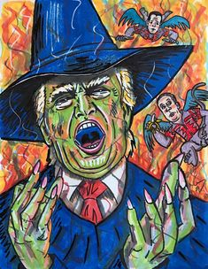 """Jim Carrey Paints """"Wicked Witch Of The West Wing"""" Depicting Donald Trump With """"Putin's Flying Monkeys"""" Jim Carrey, Witch Painting, House Painting, Wizard Of Oz Characters, Fictional Characters, Donald Trump, Evil Empire, American Psycho, Wicked Witch"""