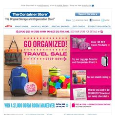 Container Store - 109 New Travel Products | GO ORGANIZED! Travel Sale