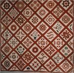 """Appliqued Friendship Quilt  Harford County, Maryland, 1848    Cottons. This well documented quilt is finely stitched and quilted using the highest quality red printed fabrics available in the mid 19th century. The central block is inscribed in ink """"Sophia Pyle's quilt pieced by her mother in 1848."""" The maker, Milcah C. (Churchman) Pyle, Mrs. Joseph Pyle, was Sophia's mother and the wife of Joseph Pyle of Harford County, Maryland. Excellent condition.  102 inches square."""