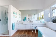 Bathroom with turquoise accessories