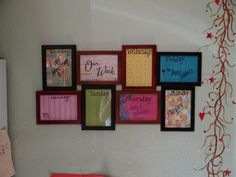 Weekly organizer. Picture frames, scrap booking paper & stencils. My next project!