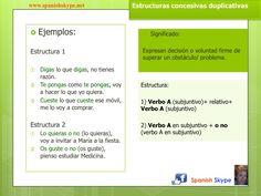 Estructuras concesivas en español.  Oraciones concesivas