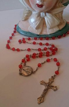 Vintage Superb Quality Red Rosary Beads with Crucifix and Plaque £10 + £1 p&p