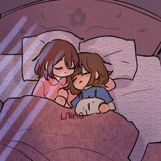 good nighttt by Niko-HB Anime Girlxgirl, Yuri Anime, Fanarts Anime, Anime Characters, Undertale Cute, Undertale Fanart, Undertale Comic, Frisk, Cute Anime Character