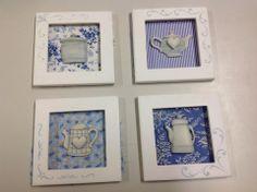 Míni quadros com colagem de tecido, peças em resina e stêncil em alto relevo que aprendi com a Neusa Veronese , em praparação para o Bazar IBAB/2013,