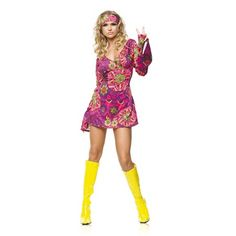 Retro Kostuum  Retor jurkje met wijde mouwen. De haarband maakt je hippie outfit compleet.  Dit jurkje is perfect voor een Woodstock party-avond, Carnaval of een ander themafeest. ( Exclusief laarsen)