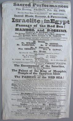 Covent Garden 1833 Playbill - Israelites in Egypt