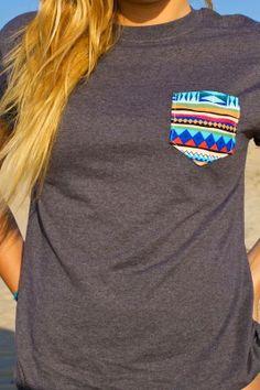 """Pocket Punt Mesh Grey Blue Aztec Pocket Punt T-Shirt. Use discount code """"Gerlinger15"""" for 15% off!!"""
