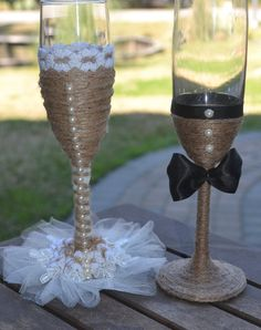 special occasion hand made rustic chic country western elegance champagne wedding flute glasses toasting set Más Marie's Wedding, Wedding Champagne Flutes, Wedding Glasses, Champagne Glasses, Wedding Crafts, Rustic Wedding, Dream Wedding, Wedding Decorations, Table Wedding