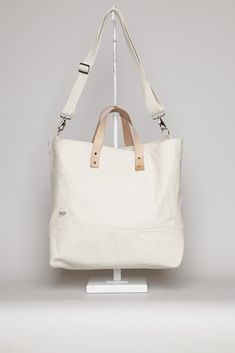 Blk Pine Workshop Leather + Canvas Large Tote (Natural)
