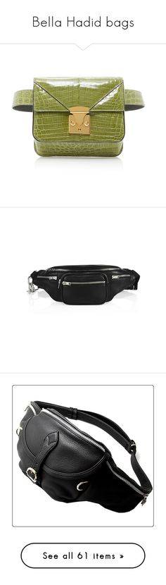 """""""Bella Hadid bags"""" by marilia13 ❤ liked on Polyvore featuring bags, handbags, shoulder bags, belt bag, waist fanny pack, fanny pack bags, bum bag, green fanny pack, bag accessories and black"""