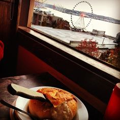The Athenian: located in Pike Place Market.  Every seat has a view of the water. Decent food. And for movie buffs, Sleepless in Seattle was filmed here