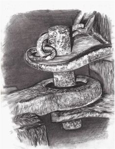 Rust Study in Charcoal - Conway High School Art Project