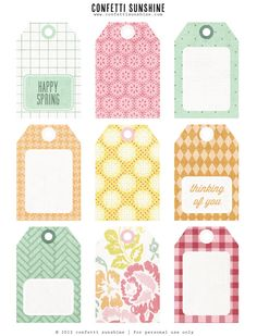 Free Spring Printable Tags by Confetti Sunshine Printable Labels, Printable Paper, Free Printables, Printable Luggage Tags, Card Tags, Gift Tags, Sunshine Printable, To Do Planner, Journal Cards