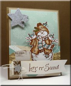 """Serendipity Stamps! by redlynny - Cards and Paper Crafts at Splitcoaststampers - She used Serendipity Stamps """"Snowman with Birds"""" and """"Let It Snow"""" rubber stamps on her card."""