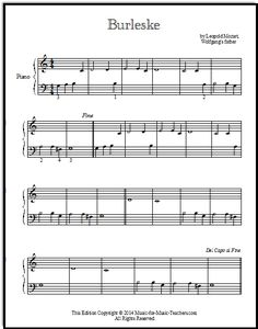 Burleske or Burlesque, by Leopold Mozart, for beginner piano students.  Play it as a duet too.
