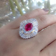 The Rich Gems 3.13 Burmese Ruby set in beautiful diamond ring #ruby #rubyring #burmeseruby #ring #rings #diamonds #diamondjewellery #handmade #handcraft #madeinmyanmar #richgems #Yangon