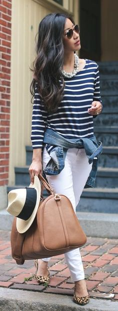 Blue And White Striped Long Sleeve Tee by Extra Petite