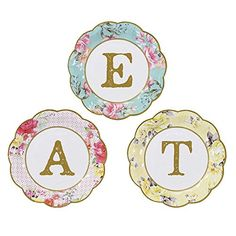 Talking Tables Truly Scrumptious Tea Party Paper Party Plates with EAT Design 12 Pack Small Multicolor -- Check this awesome product by going to the link at the image.  This link participates in Amazon Service LLC Associates Program, a program designed to let participant earn advertising fees by advertising and linking to Amazon.com.