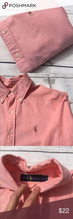 """POLORALPHLAURENMen's•Oxford•Shirt•L• men's  long sleeve button front 100% cotton oxford shirt•Size L per tag•Signature pony at chest•no fraying• GUC•dirt marks on collar & button column, as pictured•they should wash out• Chest: 25"""" Length: 32"""" Sleeve: 34"""" Shoulder: 18.5"""" Ralph Lauren Shirts Casual Button Down Shirts"""