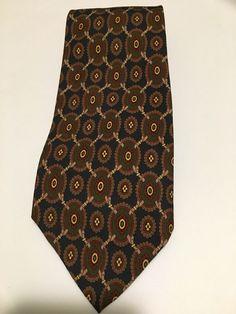 1653154cb996 Polo Ralph Lauren Navy tan Green Geometric 100% Silk Men's Neck Tie 57