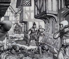 Pudding Lane, London depiction of plague