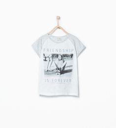 Imagen 1 de Camiseta estampado fotográfico y texto de Zara