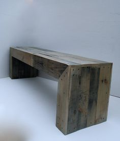 Dining room seating. Sun-bleached grey bench. Modern. Reclaimed Pallet Bench by RAKAMod on Etsy