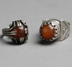 Mauritania | Silver and carnelian rings | 120 € ~ sold (Sept '11)