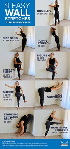 Double V — 30 seconds per side | Wall Stretches to Relieve Back Pain | POPSUGAR Fitness Photo 2