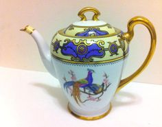 RARE Old Noritake Japan Hand Painted Teapot M Wreath Nippon Gold Trim Peacock   eBay