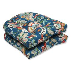 Pillow Perfect Outdoor Telfair Peacock Wicker Seat Cushion (Set of 2) - Overstock™ Shopping - Big Discounts on Pillow Perfect Outdoor Cushions & Pillows