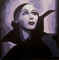 "Delores DelRio, acrylic on canvas, 20x20"". i love how vampiric she looks in this picture. purple pas de deux, anyone? never mind."