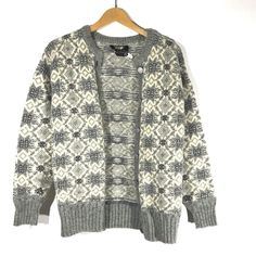 Figgio Sweater Fair Isle Nordic Button Up Winter 100% Pure Wool #Figgjo #Sweater