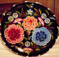 Vintage Mexican Bowl Tray Hand Painted Batea by designfrills, $59.00