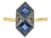 Art Deco Sapphire & Diamond Double Diamond Shaped Ring