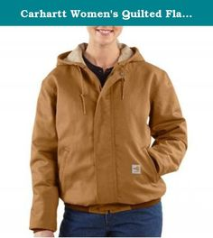 Carhartt Women's Quilted Flannel Lined Sandstone Active Jacket,Carhartt Brown (Closeout),Large. Here's an active jack that keeps you warm and protected. 8.5-ounce FR canvas: 88-percent cotton/12-percent high-tenacity nylon 6.75-ounce, FR quilt lining: FR mod acrylic batting quilted to twill face cloth two inside patch pockets with FR hook-and-loop closures name FR rib-knit cuffs and waistband brass front zipper with name FR zipper tape has inside and outside protective flaps with...