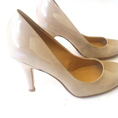 "Nine West Taupe High Heel Pumps CONDITION: NIB - new in box  // DESCRIPTION: Nine West taupe high heeled pumps, shiny patent, round toe, 3.5"" heel, great for weddings, graduation, or a professional interview, business casual/work wear appropriate  // *From non-smoking home // *Currently NOT accepting trades // *Please feel free to leave any questions! THANK YOU! Nine West Shoes Heels"