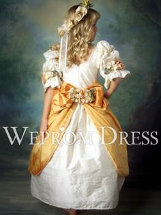 Classical Ball Gown Orange|White Natural Floor-Length Bow Tie|Floral Wrap Flower Girl Dresses -wepromdress.com