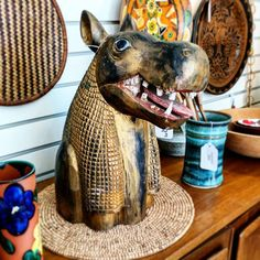 A delightful carved wood Hippo. Makes me smile how about you? . . . #carved #wood #hippo #folkart #tribal #primative #hippopotamus #smiling #antiques #vintagebooth  #vintageshop #vintage #portlandvintage #pdxvintage #vintagepdx #vintageportland  #beaverton #curiositiesvintage