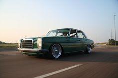 vintage Mercedes sedan, green