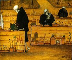 1896: The Garden of Death. The Garden of Death (watercolor and gouache) by Hugo Simberg. Death and the Afterlife by Cliff Pickover