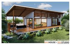 Another roof idea for the beachside bungalow. The roof could extend east to give additional shelter over the whale watching seat Lennox Head granny flat / dwelling / NSW — Baahouse / Granny flats / Tiny House / Small houses / Brisbane / Australia wide Modern Small House Design, Tiny House Design, Shed Homes, Prefab Homes, Casas Containers, Container House Design, Little Houses, Small Houses, Small Beach Houses