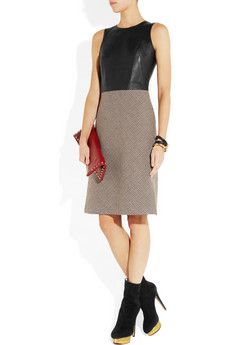 McQ Alexander McQueenleather and tweed dress. I'd skip the boots.
