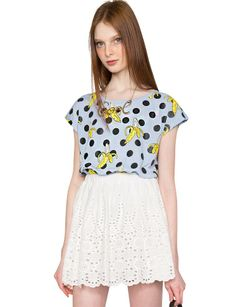 Banana Polka Dot Crop Top -$49