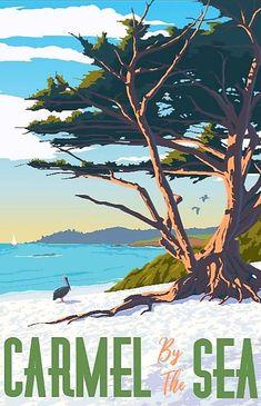 Carmel Ca, Carmel By The Sea, Vintage Travel Posters, Poster Vintage, Vintage Signs, Steve Thomas, Running On The Beach, Coastal Art, City Maps