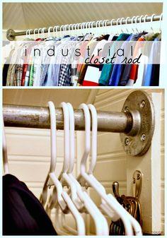 Diy {industrial} galvanized pipe closet rod
